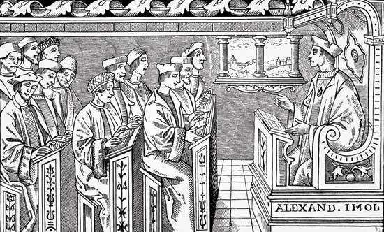 Clase de ciencia y literatura en escuela del siglo XVI por Paul Lacroix, publicado en Londres, 1878.